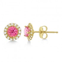 Halo Pink Tourmaline & Diamond Stud Earrings 14k Yellow Gold (0.65ct)