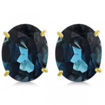 London Blue Topaz Stud Earrings 10x8mm 14k Yellow Gold 6.40ct|escape