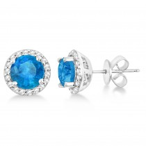 Blue Topaz & Diamond Halo Stud Earrings in Sterling Silver 2.27ct