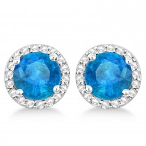Blue Topaz & Diamond Halo Stud Earrings in Sterling Silver 2.27ct|escape