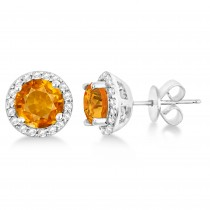 Citrine & Diamond Halo Stud Earrings in Sterling Silver 2.27ct