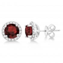 Garnet & Diamond Halo Stud Earrings in Sterling Silver 2.27ct