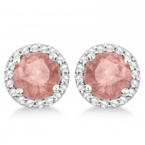 Morganite & Diamond Halo Stud Earrings in Sterling Silver 2.27ct