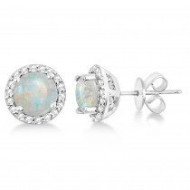 Opal & Diamond Halo Stud Earrings in Sterling Silver 2.27ct