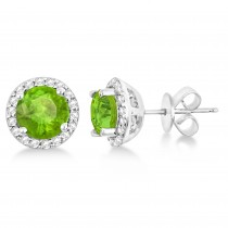 Peridot & Diamond Halo Stud Earrings in Sterling Silver 2.27ct