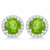 Peridot & Diamond Halo Stud Earrings in Sterling Silver 2.27ct|escape