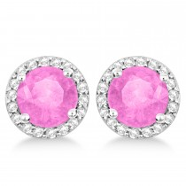 Pink Sapphire & Diamond Halo Stud Earrings in Sterling Silver 2.27ct