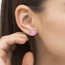 Pink Sapphire & Diamond Halo Stud Earrings in Sterling Silver 2.27ct|escape