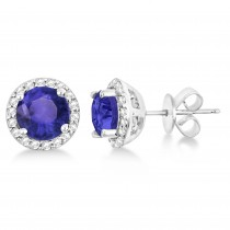 Tanzanite & Diamond Halo Stud Earrings in Sterling Silver 2.27ct