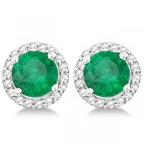 Ladies Emerald & Diamond Halo Stud Earrings in Sterling Silver 1.77ct