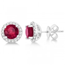 Ladies Ruby & Diamond Halo Stud Earrings in Sterling Silver 2.27ct