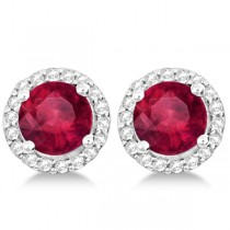 Ladies Ruby & Diamond Halo Stud Earrings in Sterling Silver 2.27ct|escape