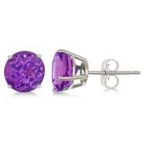 Purple Amethyst Stud Earrings Sterling Silver Prong Set (2.60ct)