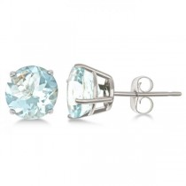 Aquamarine Stud Earrings Sterling Silver Prong Set (2.50ct)