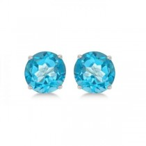 Blue Topaz Stud Earrings Sterling Silver Prong Set (3.00ct)|escape