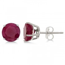 Garnet Stud Earrings Sterling Silver Prong Set (3.20ct)