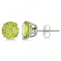 Peridot Stud Earrings Sterling Silver Prong Set (2.50ct)
