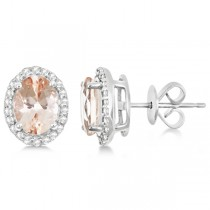 Oval Morganite & Diamond Halo Stud Earrings Sterling Silver 2.32ct