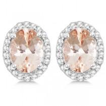 Oval Morganite & Diamond Halo Stud Earrings Sterling Silver 2.32ct