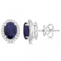 Oval Blue Sapphire & Diamond Halo Stud Earrings Sterling Silver 3.22ct