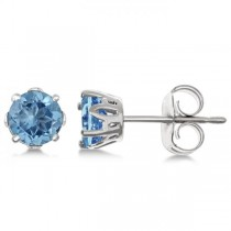 Blue Topaz Stud Earrings Sterling Silver Prong Set (1.12ct)
