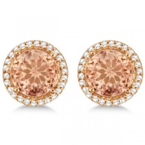 Round Morganite & Diamond Halo Stud Earrings 14k Rose Gold 2.66ct