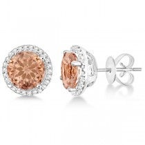 Round Morganite & Diamond Halo Stud Earrings Sterling Silver 2.66ct