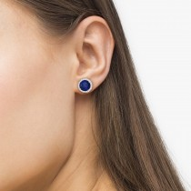 Round Sapphire & Diamond Halo Stud Earrings Sterling Silver 3.36ct