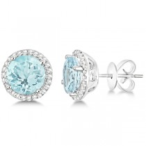 Round Aquamarine & Diamond Halo Stud Earrings 14k White Gold 2.66ct