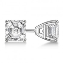 0.75ct. Asscher-Cut Diamond Stud Earrings 18kt White Gold (H, SI1-SI2)