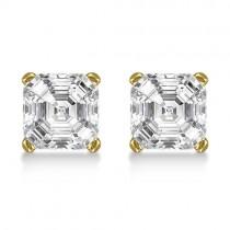 1.00ct. Asscher-Cut Diamond Stud Earrings 18kt Yellow Gold (H, SI1-SI2)|escape