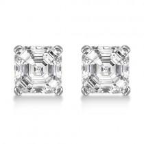 1.50ct. Asscher-Cut Lab Grown Diamond Stud Earrings 14kt White Gold (H, SI1-SI2)