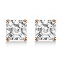 1.00ct. Asscher-Cut Lab Grown Diamond Stud Earrings 18kt Rose Gold (H, SI1-SI2)