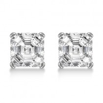 1.00ct. Asscher-Cut Lab Grown Diamond Stud Earrings 18kt White Gold (H, SI1-SI2)