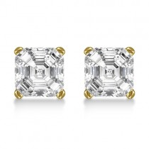 1.00ct. Asscher-Cut Diamond Stud Earrings 18kt Yellow Gold (G-H, VS2-SI1)