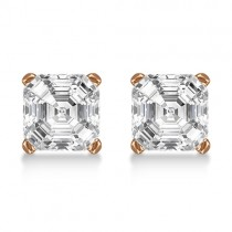 1.00ct. Asscher-Cut Lab Grown Diamond Stud Earrings 14kt Rose Gold (G-H, VS2-SI1)
