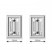 1.00ct Baguette-Cut Diamond Stud Earrings 14kt White Gold (G-H, VS2-SI1)