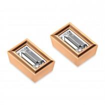 0.50ct Baguette-Cut Diamond Stud Earrings 18kt Rose Gold (G-H, VS2-SI1)