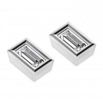 0.50ct Baguette-Cut Diamond Stud Earrings 18kt White Gold (G-H, VS2-SI1)
