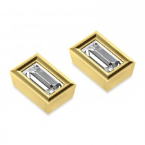 0.75ct Baguette-Cut Diamond Stud Earrings 18kt Yellow Gold (G-H, VS2-SI1)