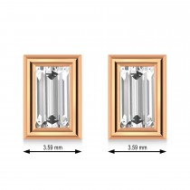 1.50ct Baguette-Cut Lab Grown Diamond Stud Earrings 14kt Rose Gold (G-H, VS2-SI1)