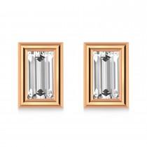 1.00ct Baguette-Cut Lab Grown Diamond Stud Earrings 14kt Rose Gold (G-H, VS2-SI1)