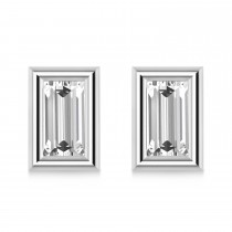 0.75ct Baguette-Cut Lab Grown Diamond Stud Earrings 14kt White Gold (G-H, VS2-SI1)