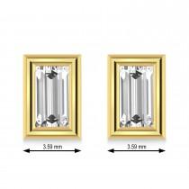 1.00ct Baguette-Cut Lab Grown Diamond Stud Earrings 14kt Yellow Gold (G-H, VS2-SI1)
