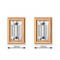 2.00ct Baguette-Cut Lab Grown Diamond Stud Earrings 18kt Rose Gold (G-H, VS2-SI1)