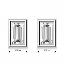 0.75ct Baguette-Cut Lab Grown Diamond Stud Earrings 18kt White Gold (G-H, VS2-SI1)