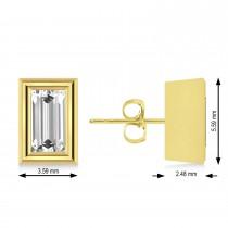 1.00ct Baguette-Cut Lab Grown Diamond Stud Earrings 18kt Yellow Gold (G-H, VS2-SI1)