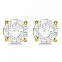 1.00ct. 4-Prong Basket Diamond Stud Earrings 18kt Yellow Gold (H-I, SI2-SI3)