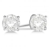 3.00ct. 4-Prong Basket Lab Grown Diamond Stud Earrings Palladium (H-I, SI2-SI3)