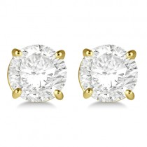 1.00ct. 4-Prong Basket Diamond Stud Earrings 14kt Yellow Gold (H, SI1-SI2)